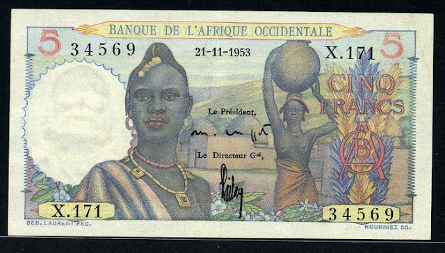 money collector French West Africa 5 Francs banknote French France Numismatic