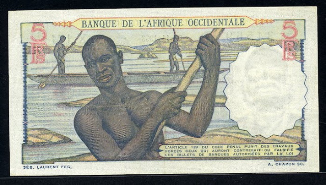 French West Africa 5 Francs bill world money
