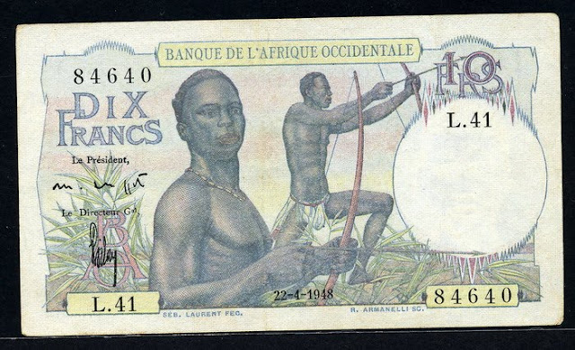 French West Africa banknotes 10 Francs banknote Bow Hunting in Africa