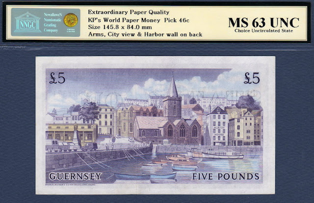 Guernsey currency banknotes 5 Pounds St. Peter Port Town Church