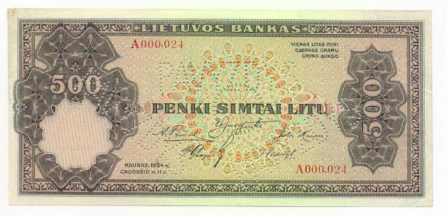 Lithuania 500 Litu banknote money currency Lithuanian Litas