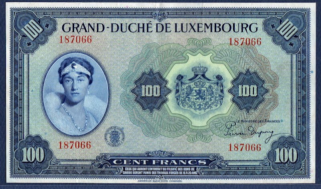 Luxembourg money currency 100 Francs banknote Charlotte Grand Duchess of Luxembourg