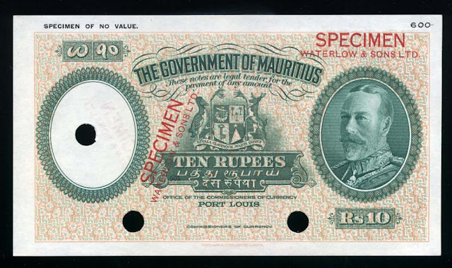 British notes Mauritius banknotes 10 Rupees banknote King George money currency