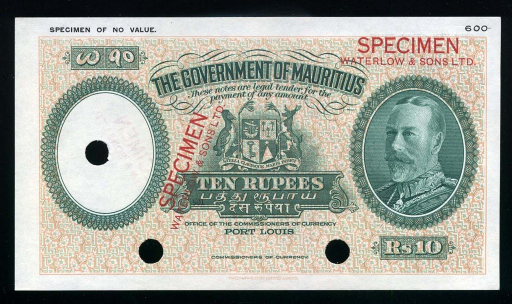 Mauritius Banknotes 10 Rupees Banknote Of 1930 King George