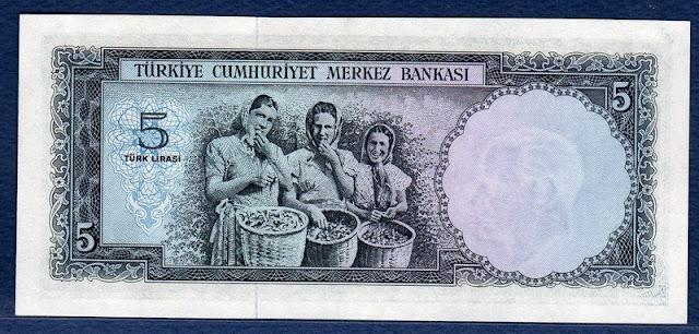 Turkey banknotes 5 Lira Old Turkish Lira Notes Bills