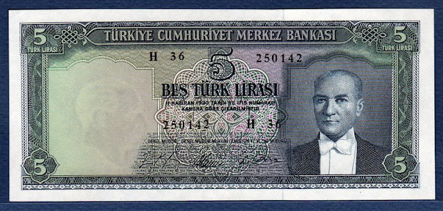 Turkey banknotes 5 Turkish Lira banknote currency notes