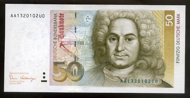 Germany banknotes 50 Deutsche Mark bank note Deutsche Bundesbank
