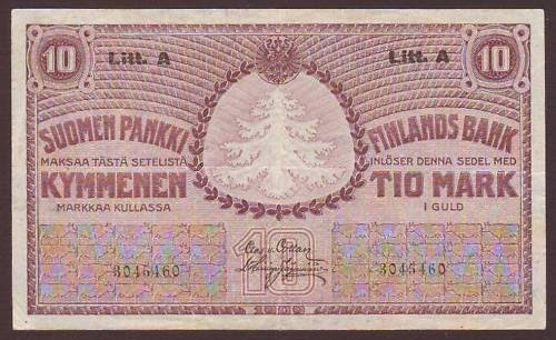 Finland 10 Finnish Markka Banknote 1909 World Banknotes