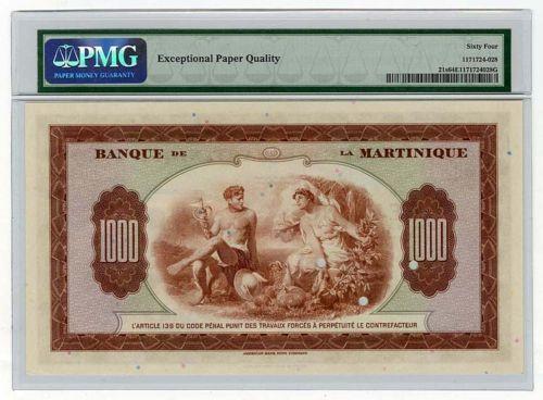 Martinique money currency 1000 Francs banknote billete