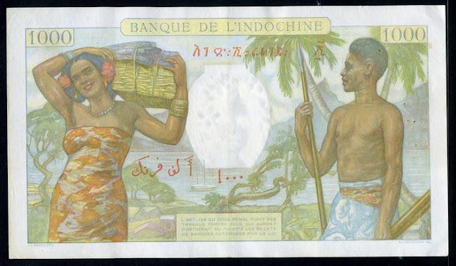 Paper Money French Somaliland 1000 Francs billete