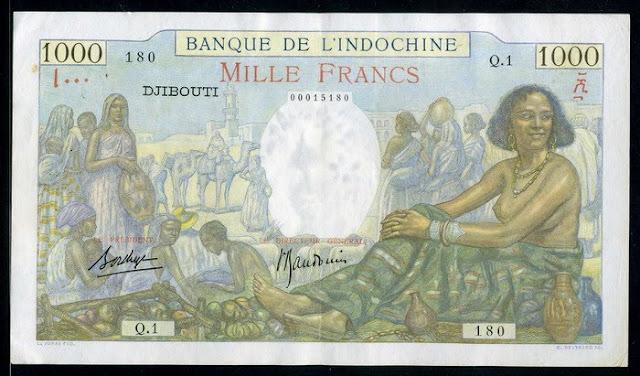 French Somaliland banknotes paper money 1000 Francs banknote Bank of Indochina