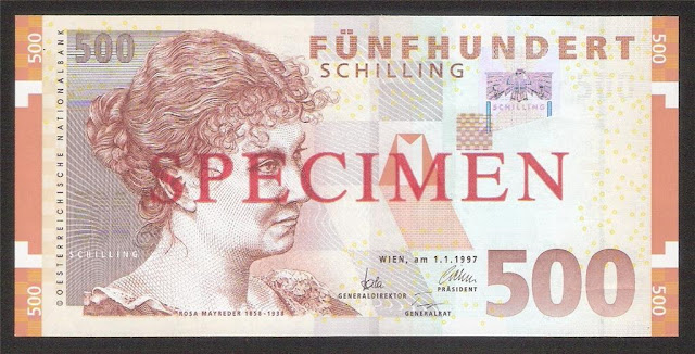Euro Paper Money currency Austria 500 Austrian Schilling banknote
