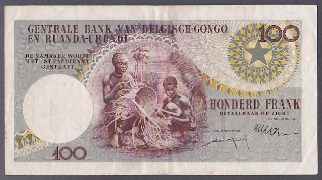 Belgian Congo currency 100 Francs banknote