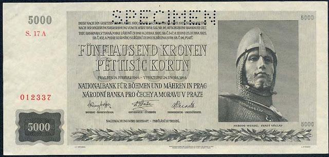 Bohemia and Moravia 5000 Korun Czechoslovakia banknotes collection
