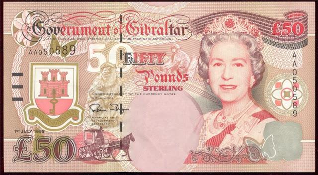 World Paper Money Gibraltar 50 Pound Banknote Queen Elizabeth The Burmese Ruby Tiara