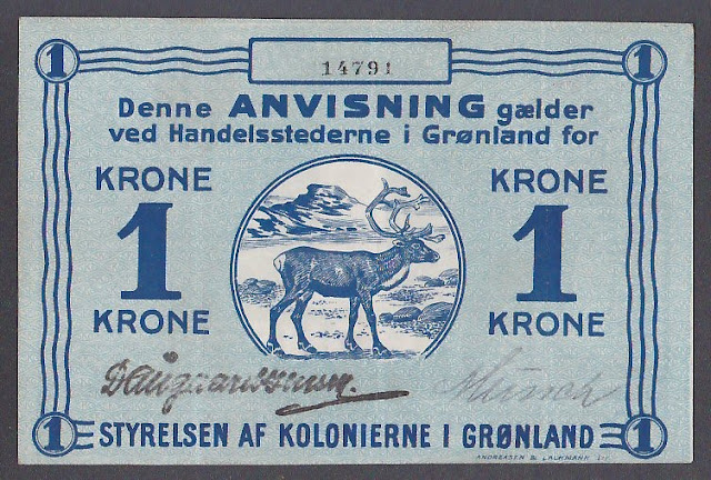 Paper Money GREENLAND 1 Krone