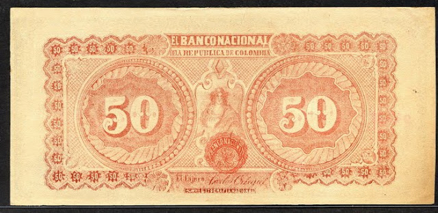 Colombia banknotes paper money 50 Pesos
