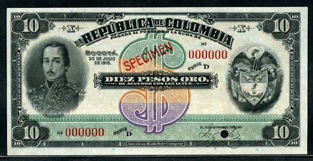 Colombian banknotes 10 Pesos banknote money currency notes pictures