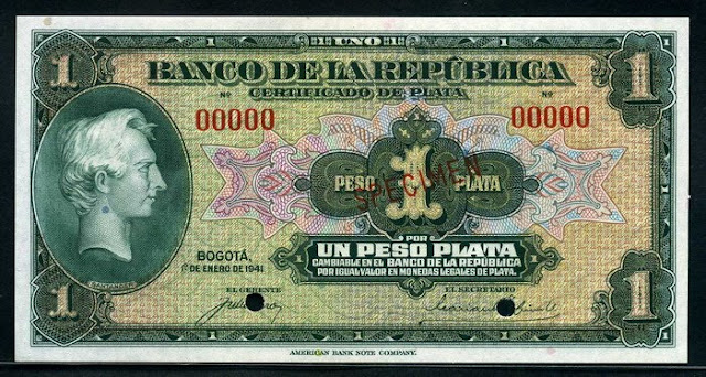 Colombian Peso Plata currency paper money notes pictures