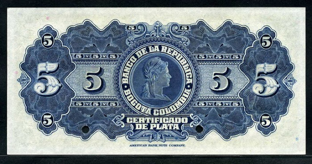 Colombia banknotes 5 Pesos bill gold notes
