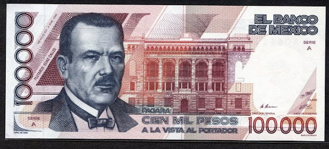 Paper Money Mexico 100000 Pesos banknote