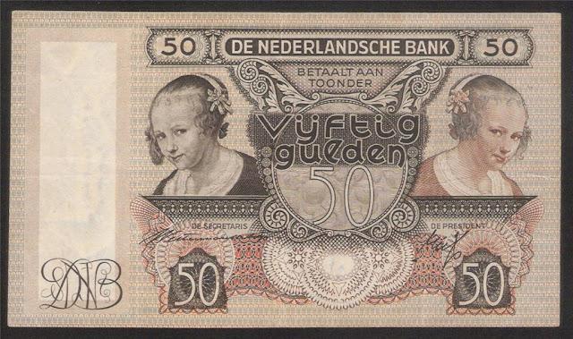 Paper Money of Netherlands 50 Gulden banknote