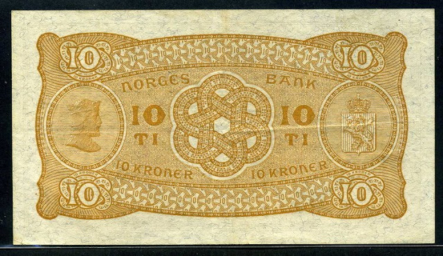 Norway paper money 10 Kroner bill