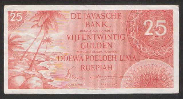 Netherlands Indies paper money 25 Gulden, De Javasche Bank notes Indonesia