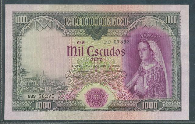 Portuguese Paper Money Portugal 1000 ESCUDOS banknote