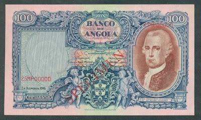 Portuguese Angola banknotes 100 Angolares banknote notes bills