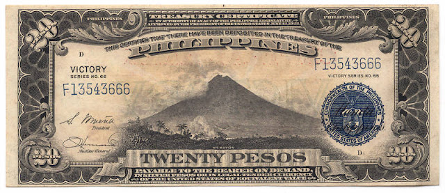 Mayon Volcano US Philippines 20 peso victory notes banknotes bill