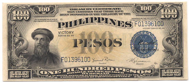US Philippines banknotes paper money 100 Peso Treasury Certificate Victory Magellan