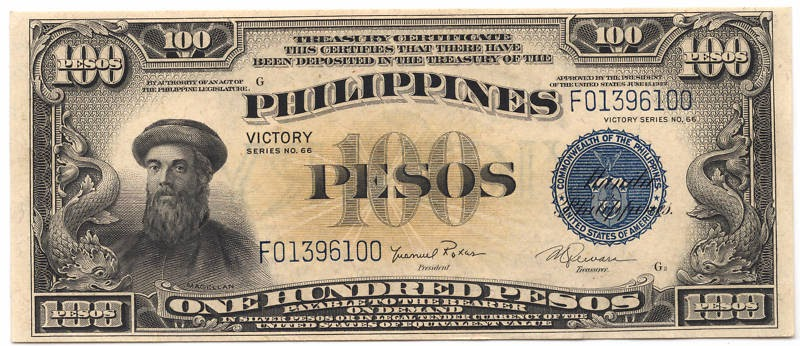 US Philippines Currency 100 Pesos banknote 1944 Victory Series 66 Treasury Certificate|World ...