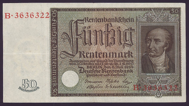 German banknotes 50 Rentenmark Germany currency banknote