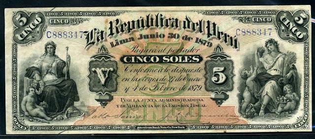ANTIQUE MONEY 1879 PACIFIC WAR Peru  5 Soles banknote world paper money Notafilia Numismática Papiergeld billete
