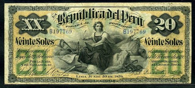 Peru 20 Soles banknote bill world paper money Notafilia