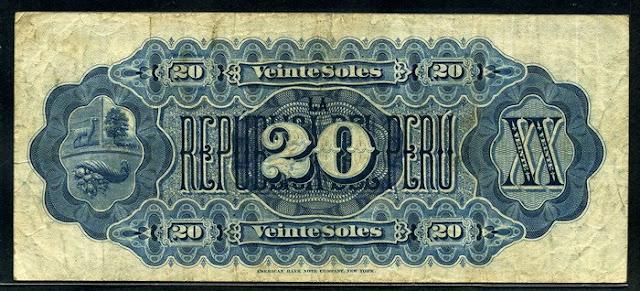 Peru 20 Soles banknote Notafilia Numismática collecting paper money Papiergeld billete