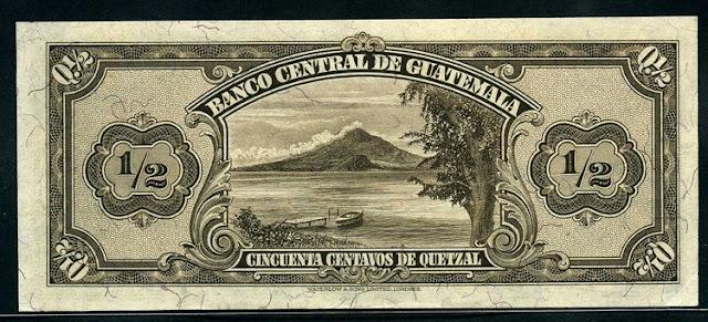 Guatemala banknote Quetzal View of Lake Atitlan and San Pedro volcano