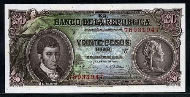 Colombian currency banknote 20 Pesos  Oro picture Notafilia Numismática collecting paper money Papiergeld billete