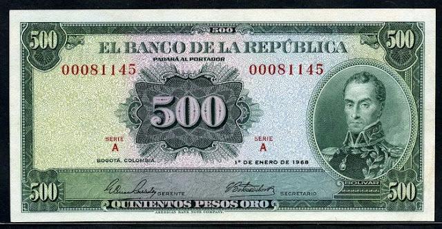 Colombia money picture  500 Pesos oro Billete banknote Simon Bolivar