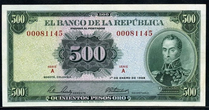 Colombia money picture  500 Pesos oroWorld Banknotes  Coins Pictures  Old Money Foreign Currency Notes World Paper Money Museum