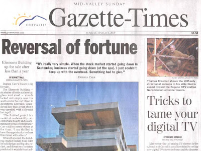 Thomas Kraemer shown in attic adjusting UHF-only antenna in front page story by Thomas Kraemer, 'Tricks to tame your digital TV,' Gazette-Times, Mar. 8, 2009, p. A1, A6