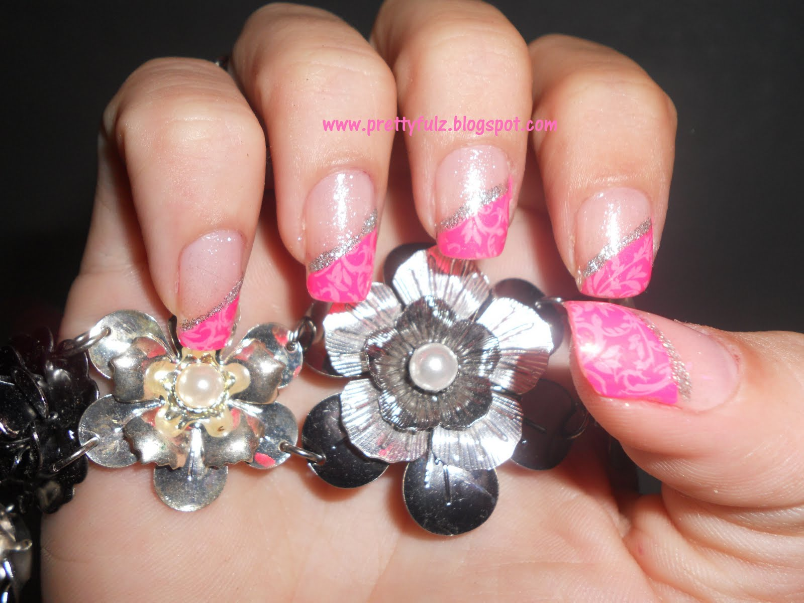 Prettyfulz: KONAD Nail Art | Pink Slanted French Tip Nail Art