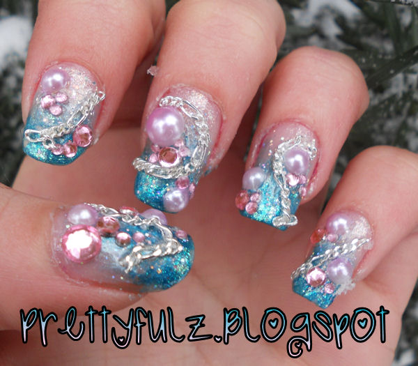 prettyfulz winter nail design deco winter sparkle nail art. Black Bedroom Furniture Sets. Home Design Ideas