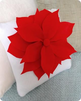 Lindo cojin navide o de flor de noche buena - Hacer cojines para sillas ...