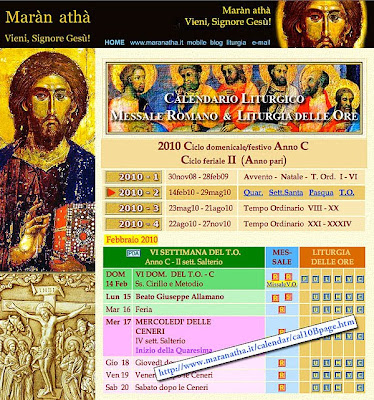 Calendario Liturgico Maranatha.Blog Di Www Maranatha It Calendario Liturgico 2010