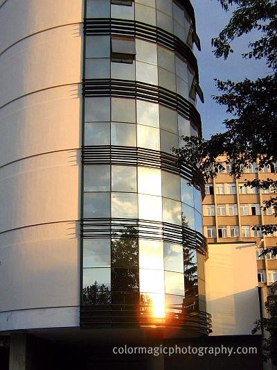 Sunset reflection in the windows of a building