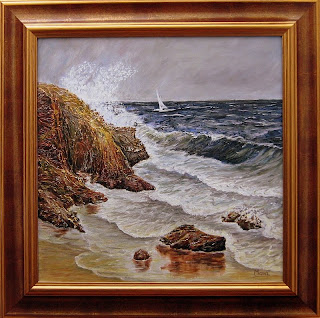 Seascape with rocks along the shore