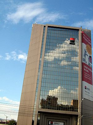 Clouds reflecting on the windows of BRD Bank Cluj Napoca