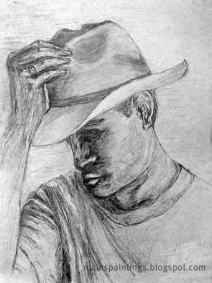 Man raising his hat-pencil drawing